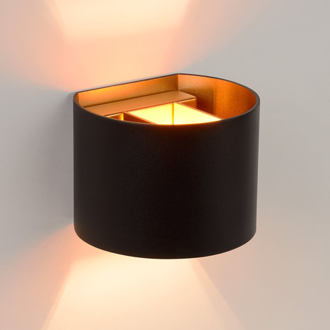 Halvrund LED-vägglampa Xio i svart