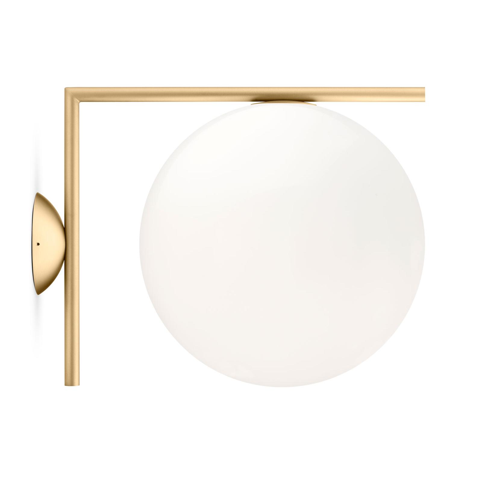 FLOS IC C/W2 lampa ścienna, mosiądz Ø 30 cm