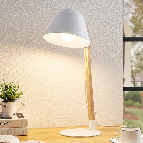 Lindby Tetja lámpara de mesa, barra madera, blanco