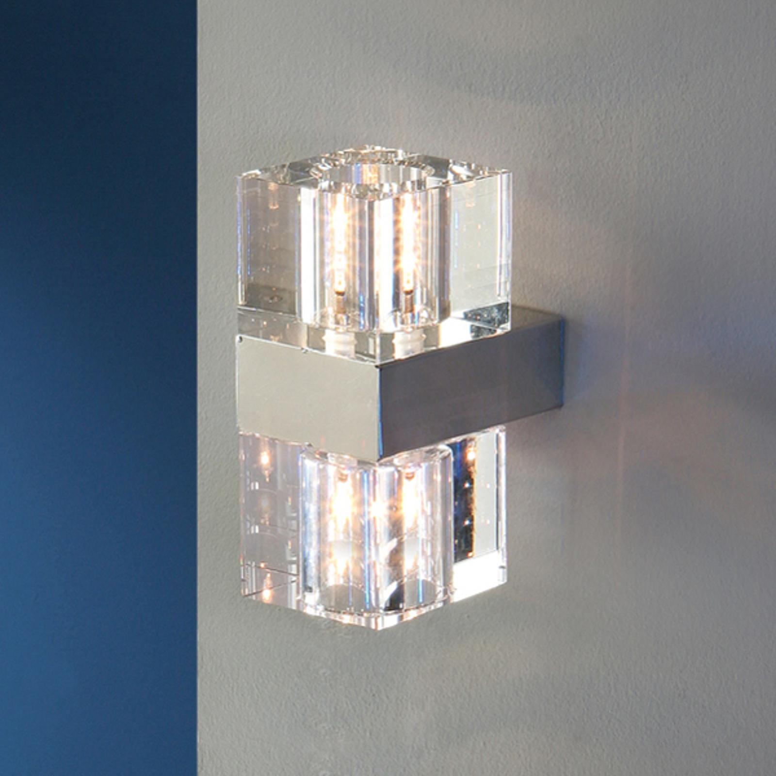 Cubic - petite applique en verre transparent