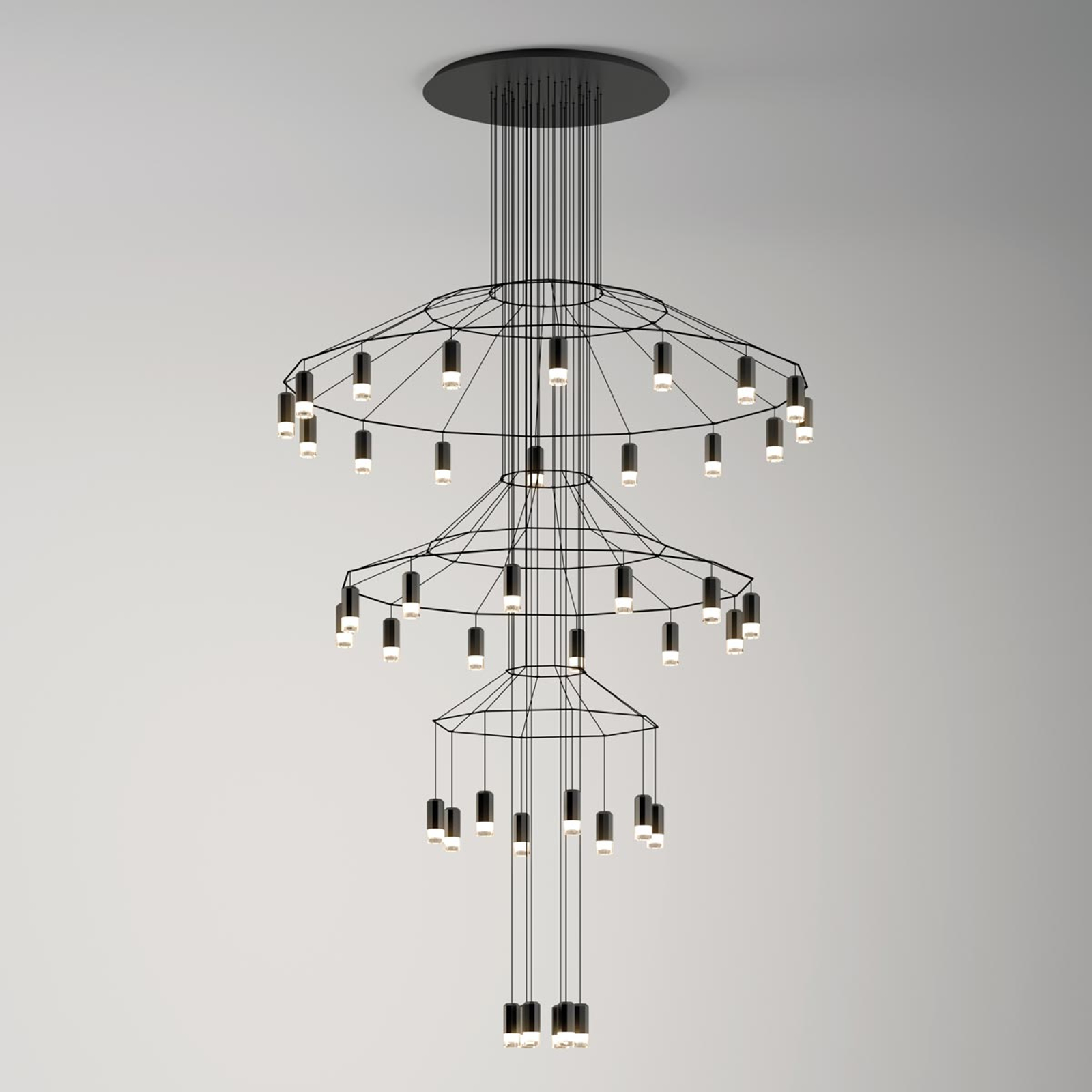 Suspension LED imposante Wireflow