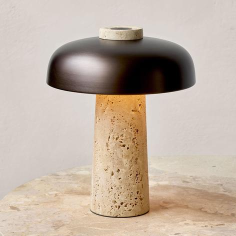 Menu Reverse lámpara de mesa LED, pie travertino