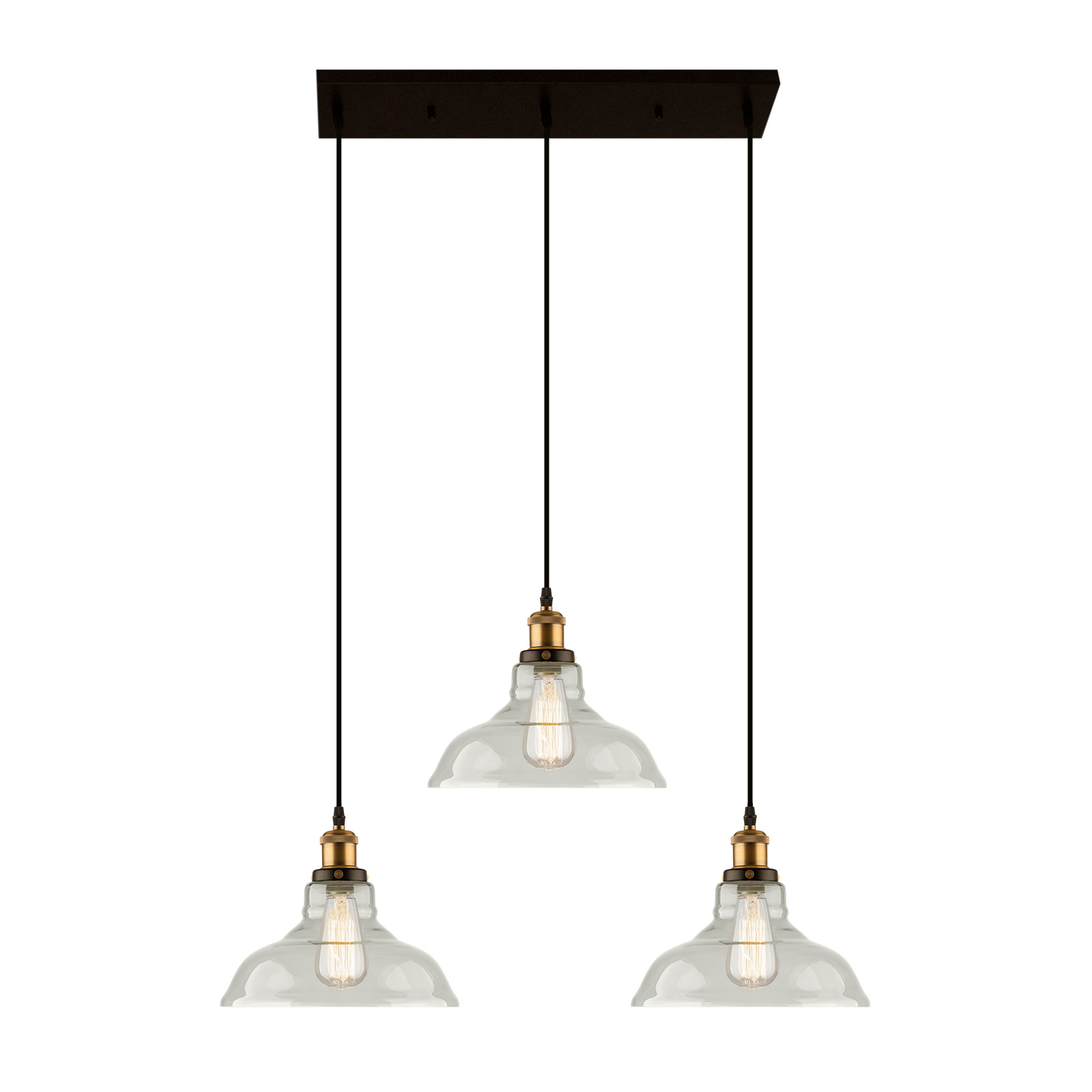 Suspension LA040 E27 3 lampes laiton/transparente