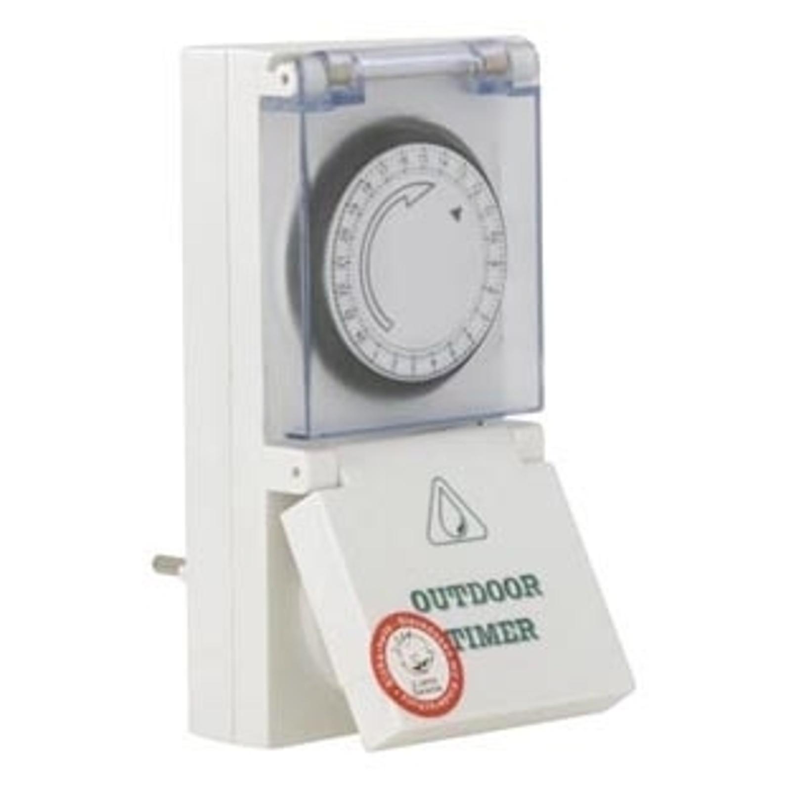 Stikdåse tænd-og-sluk-ur til udendørs brug