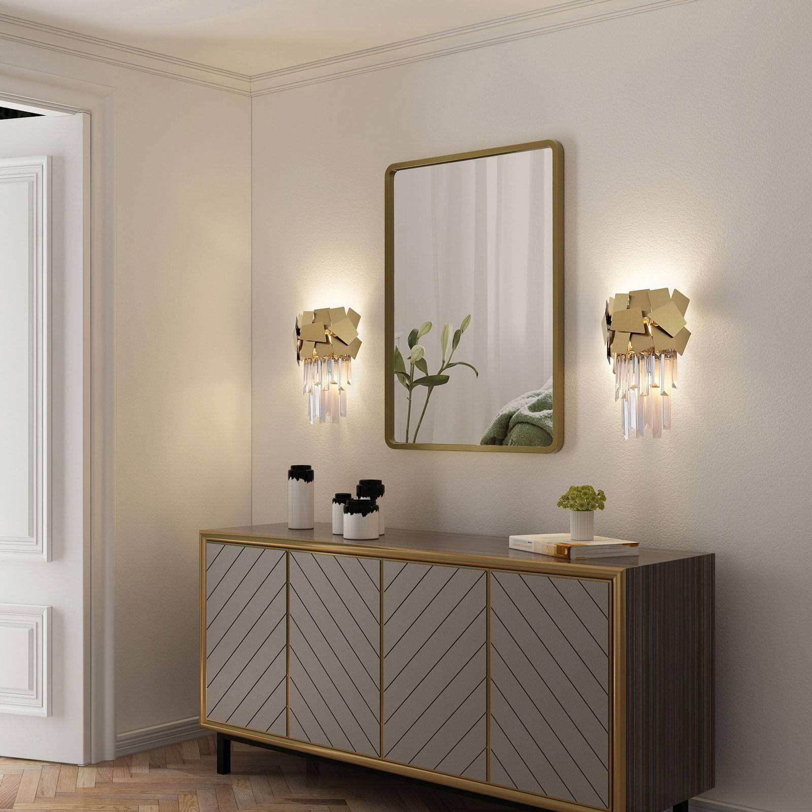 Lucande Miraia applique en cristal, dorée