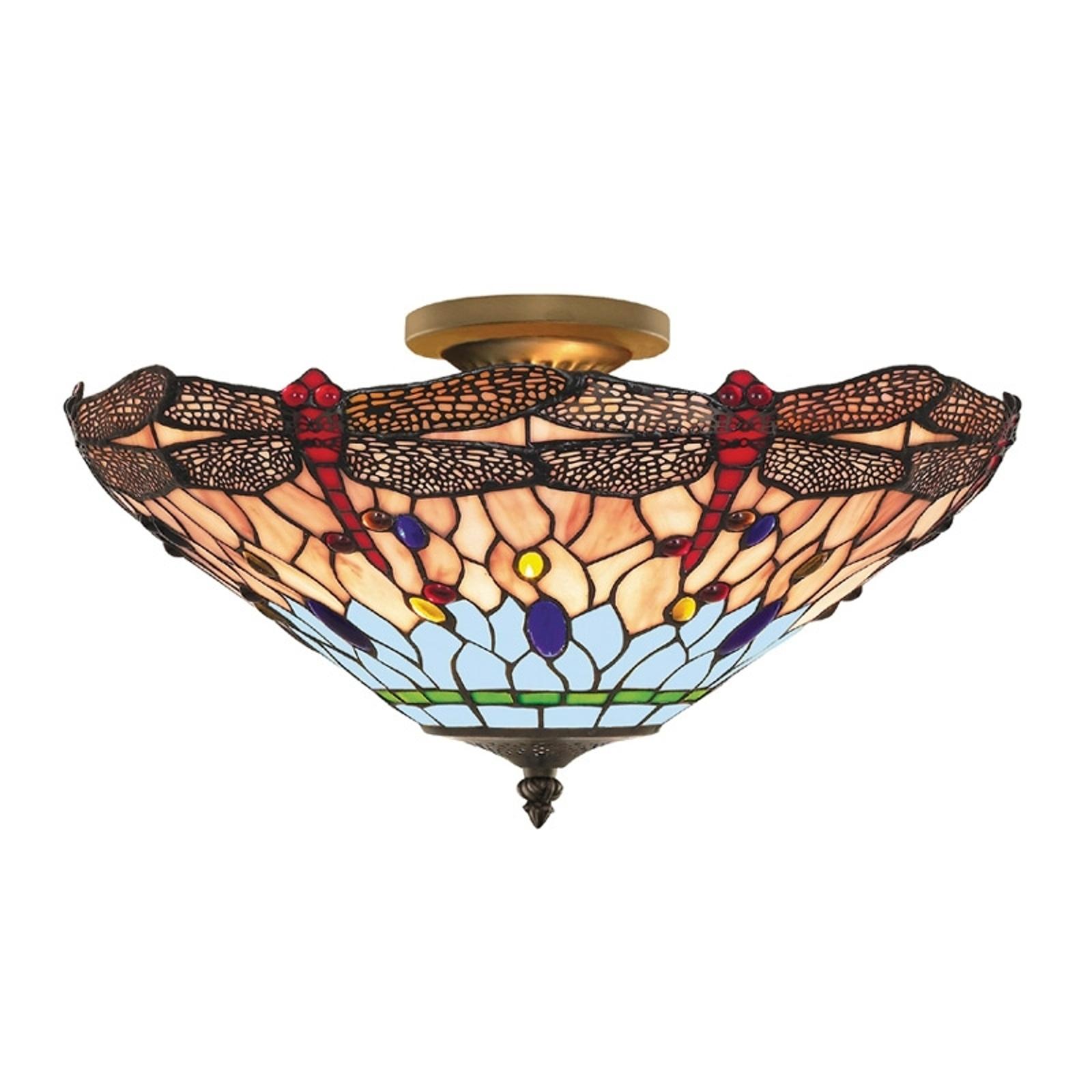 DRAGONFLY - lampa sufitowa w stylu Tiffany