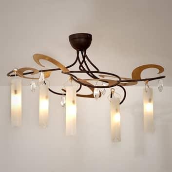 Dekorativ loftlampe CASINO med fem lys og krystall