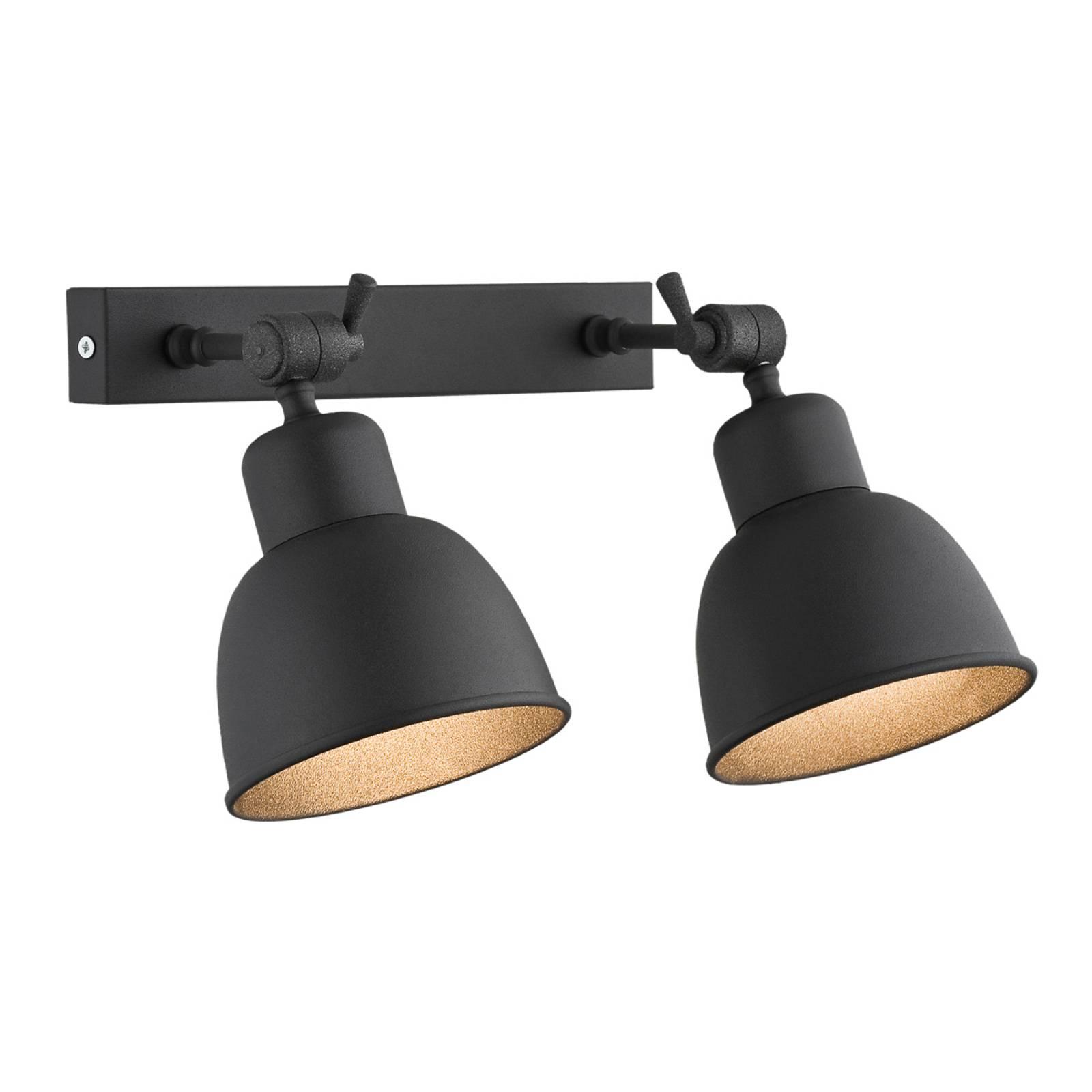 Applique Emoti à 2 lampes, noire