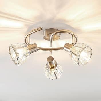 Lindby Kosta lámpara de techo, 3 luces, níquel