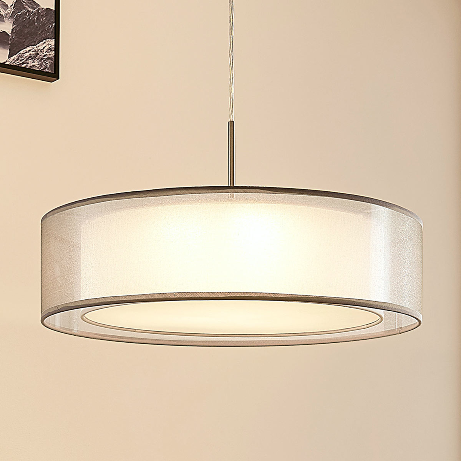 Stoffen hanglamp Amon dimbare LEDs, grijs