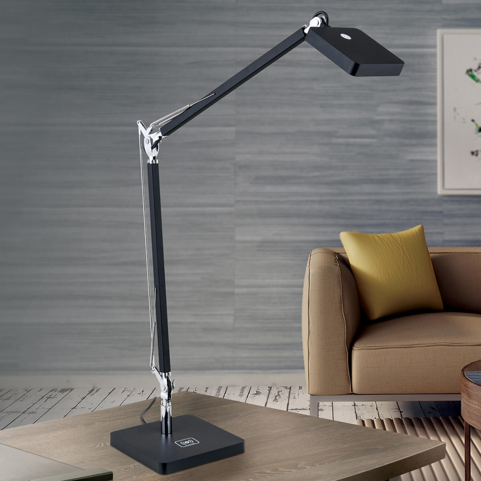 QI-fähige LED-Schreibtischleuchte Dave in Schwarz