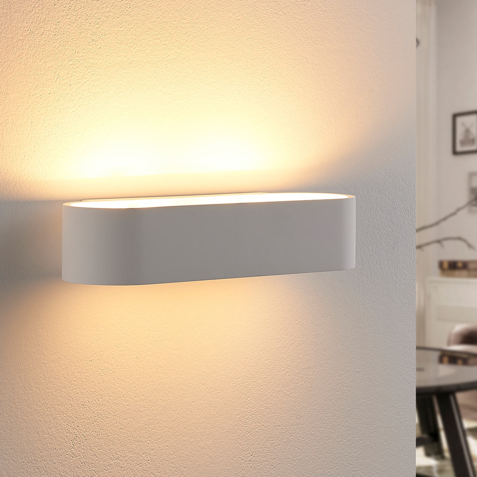 Applique LED di gesso Fioni, forma arrotondata