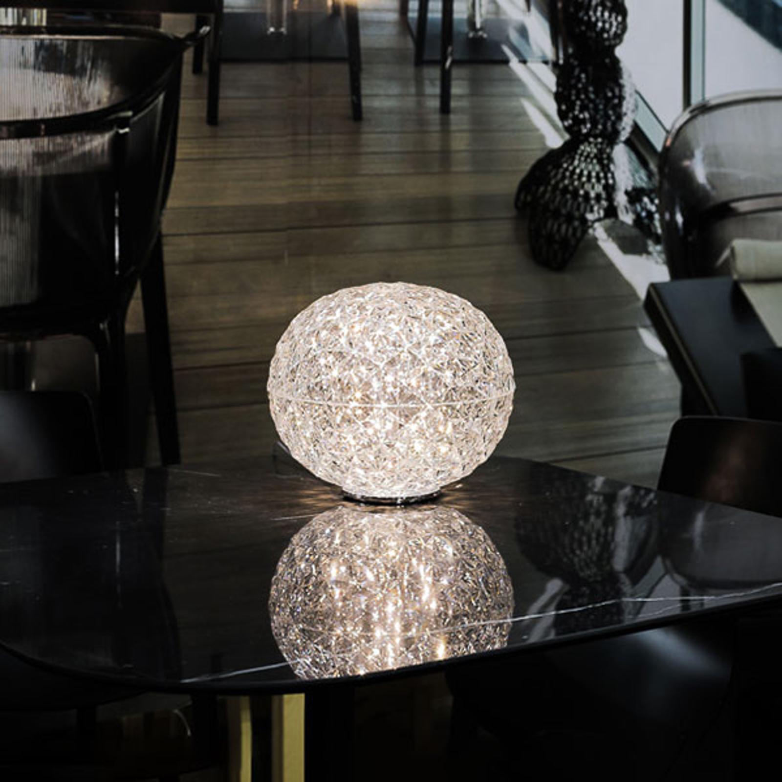 Lampe à poser LED sphérique Planet, transparente