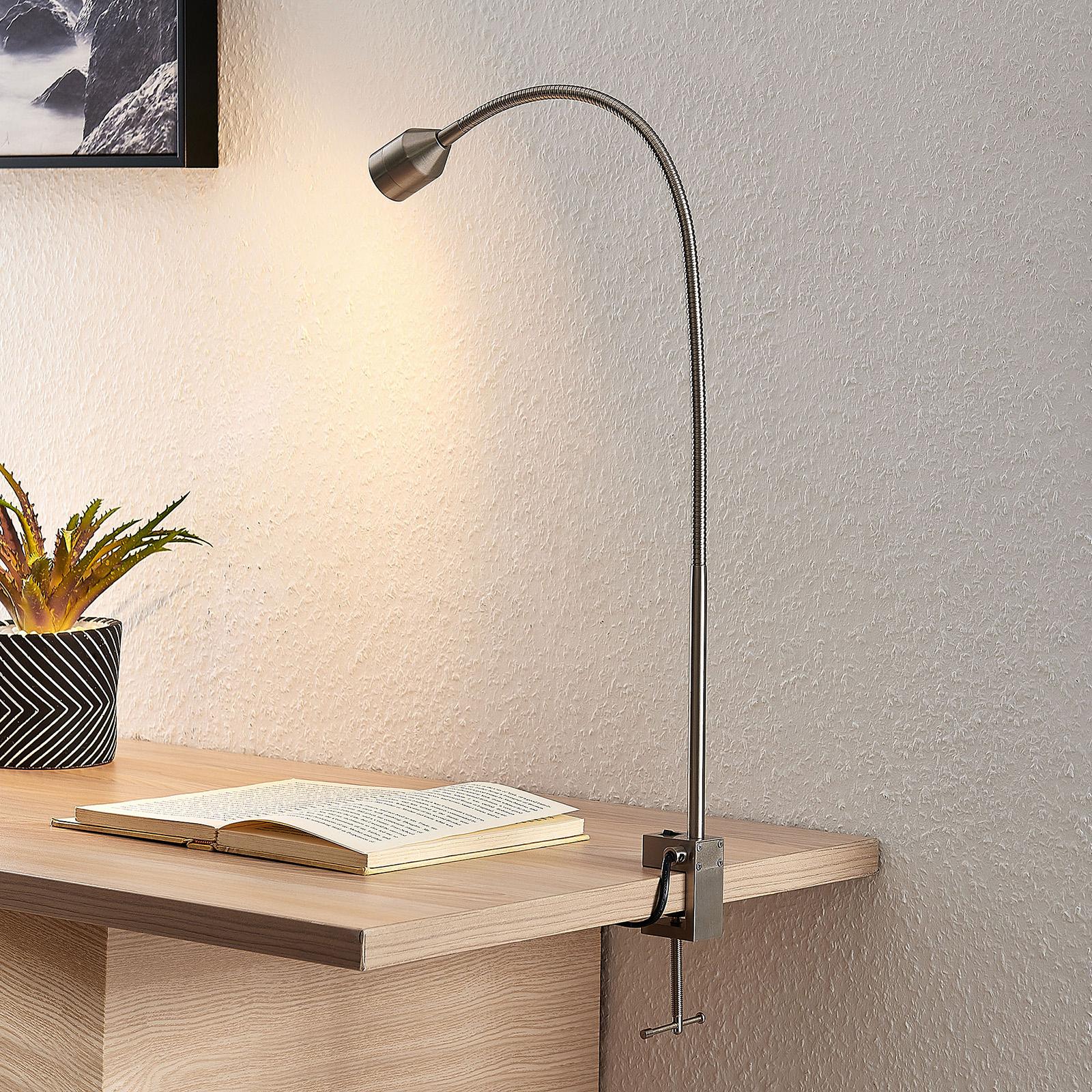 Lindby Hanilo LED světlo se svorkou, nikl