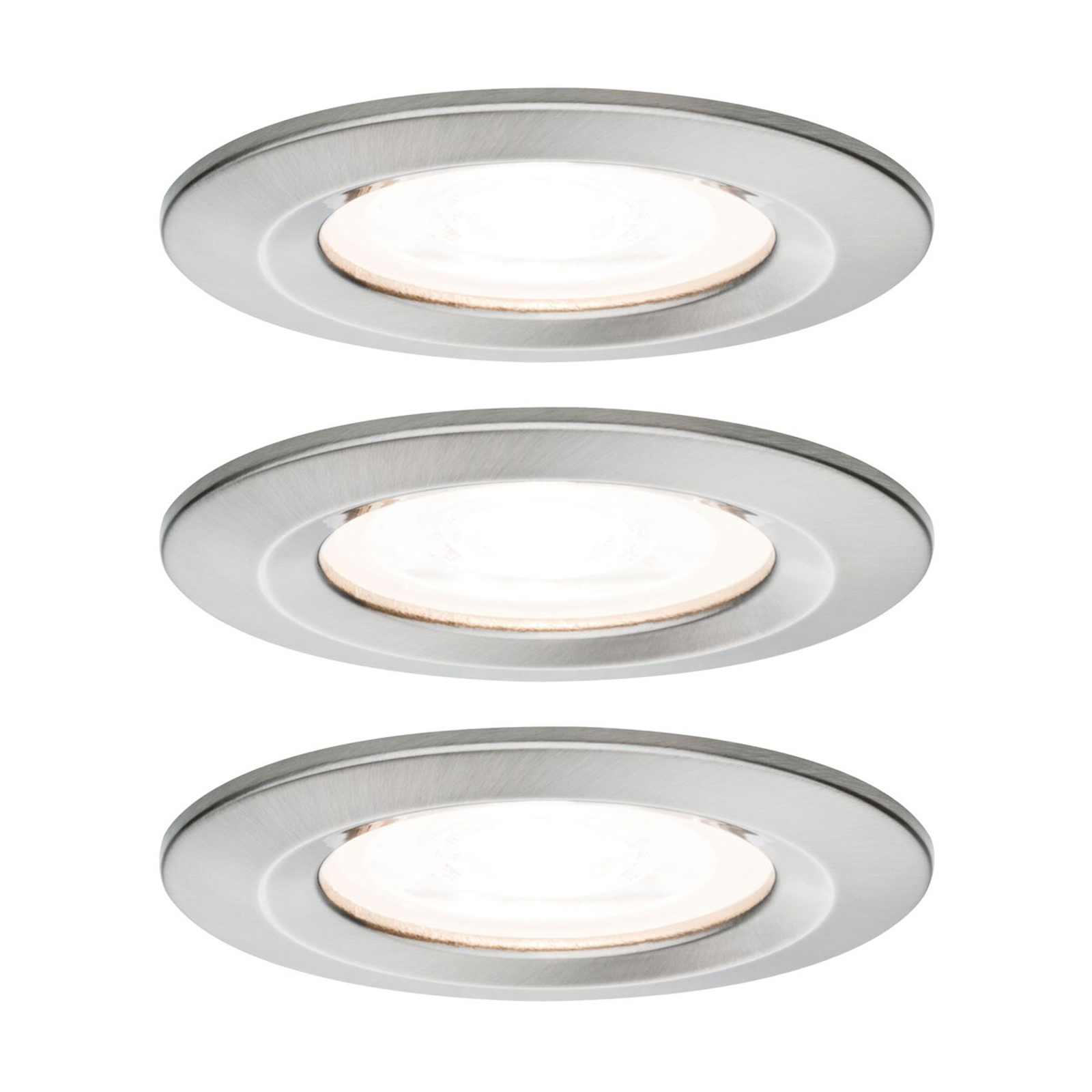 Paulmann 3p LED-spot Nova rund, IP44, dimbar, jern