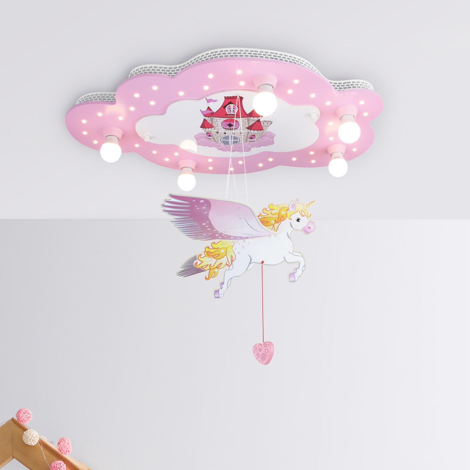 Slot loftlampe til børneværelset med enhjørning
