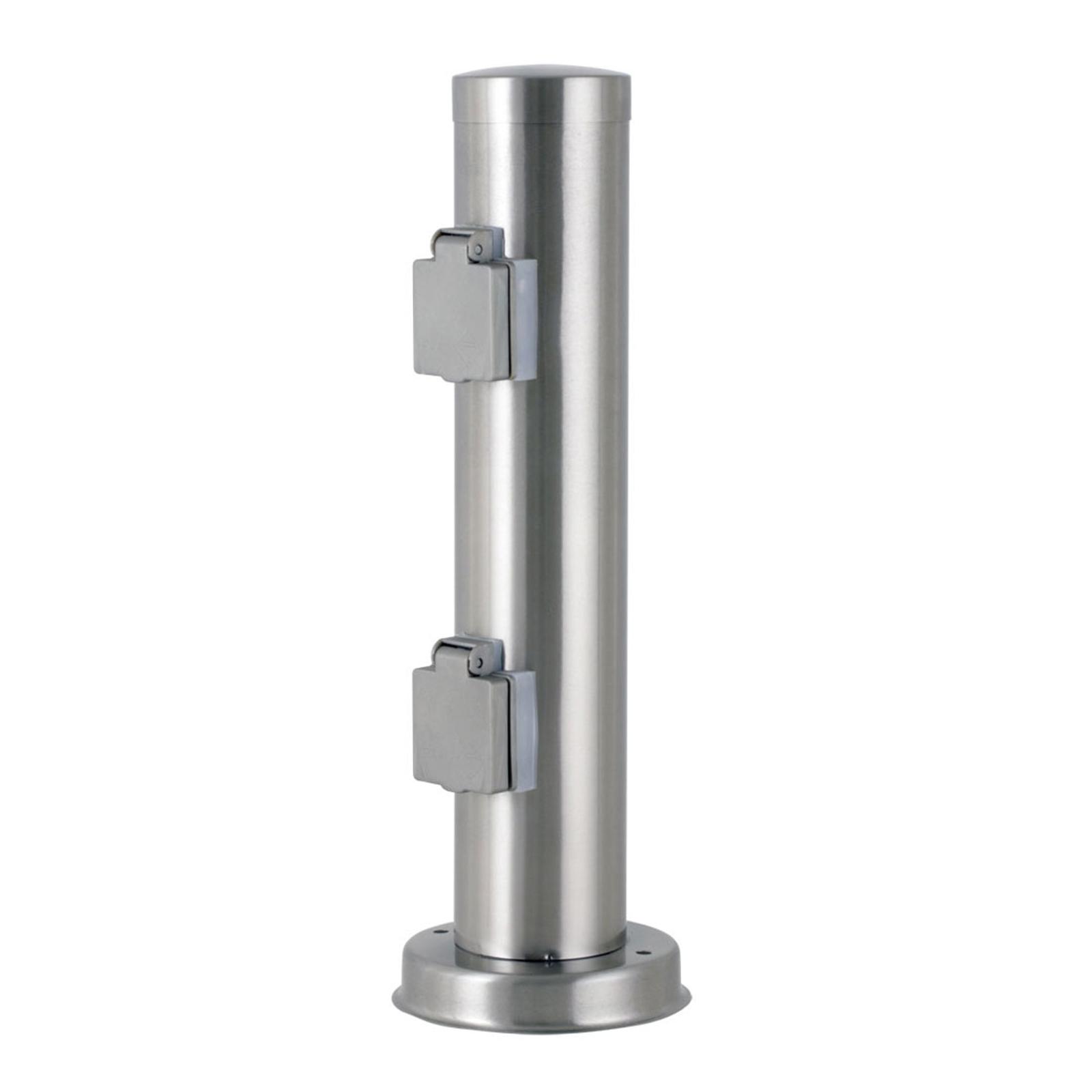 Eluttagspelare 71289934 rostfritt stål, 2 eluttag