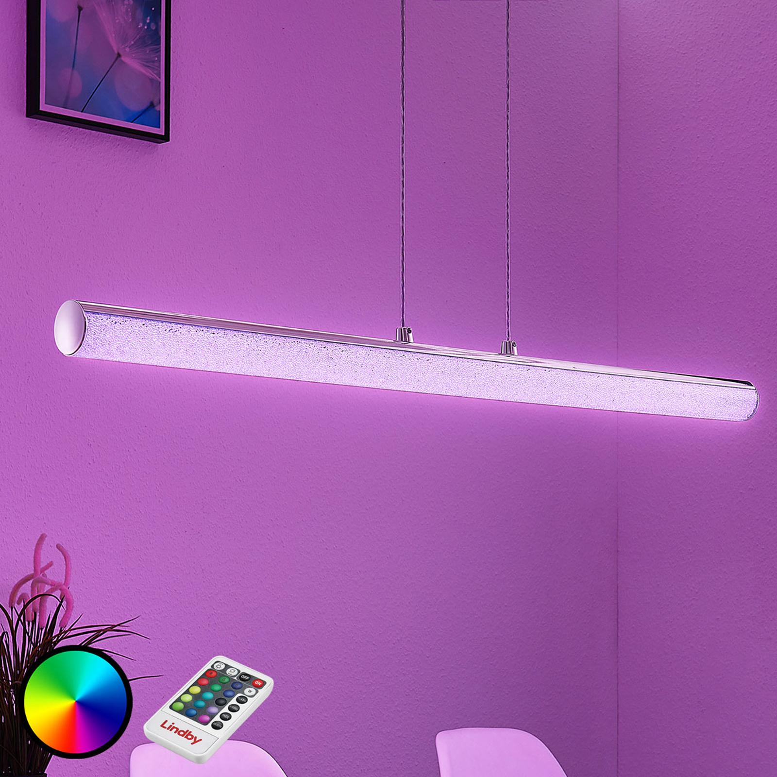 Lampa wisząca LED Fria, cylinder, RGB, pilot