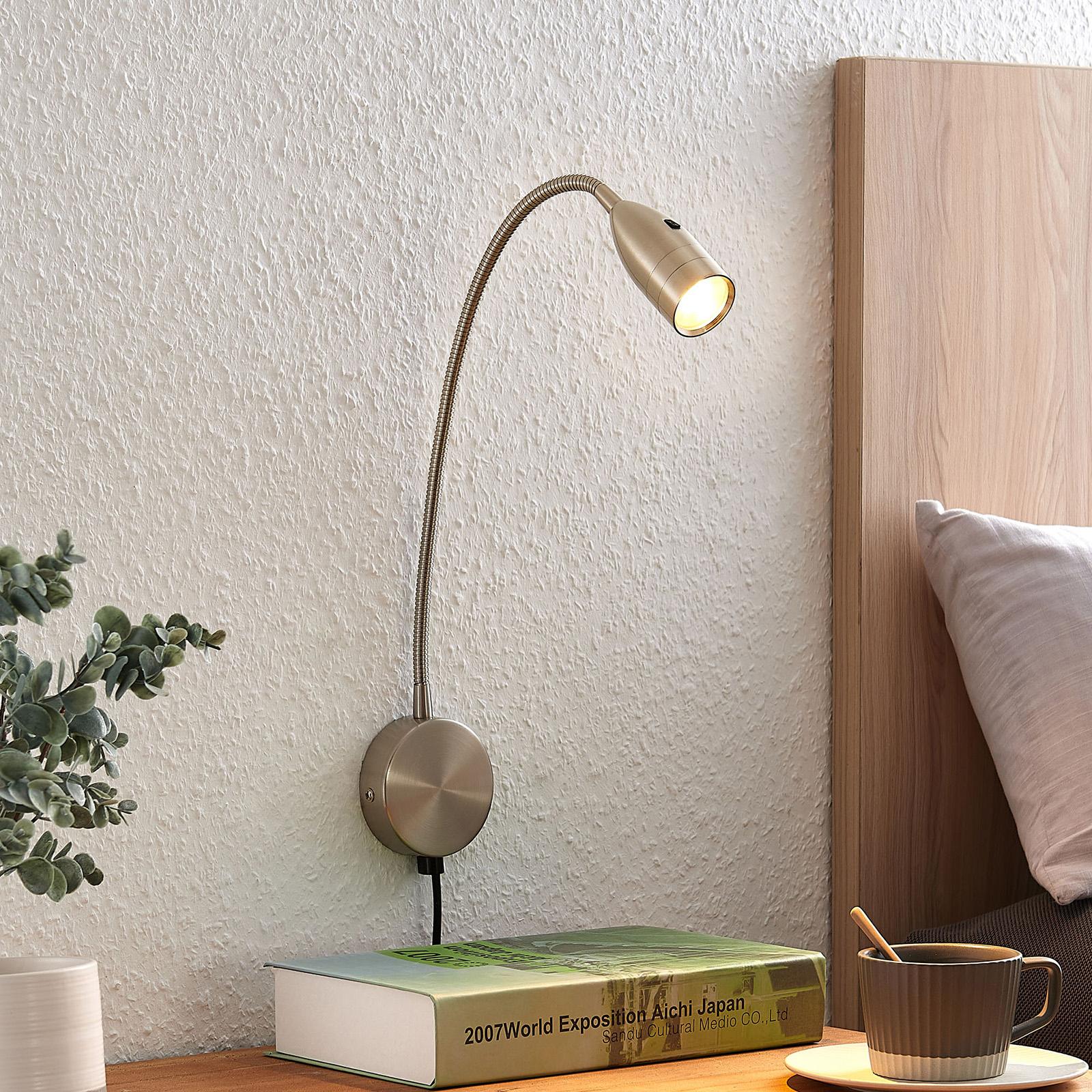 Lindby Ammara LED nástěnné světlo, nikl satinovaný