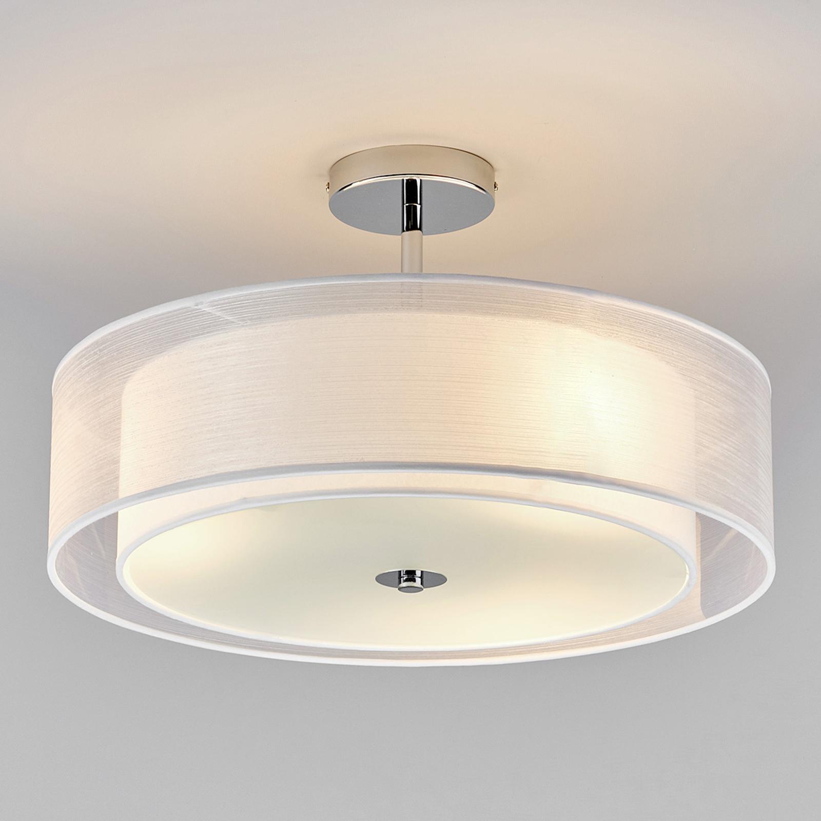 LED-plafondlamp Pikka met witte kap