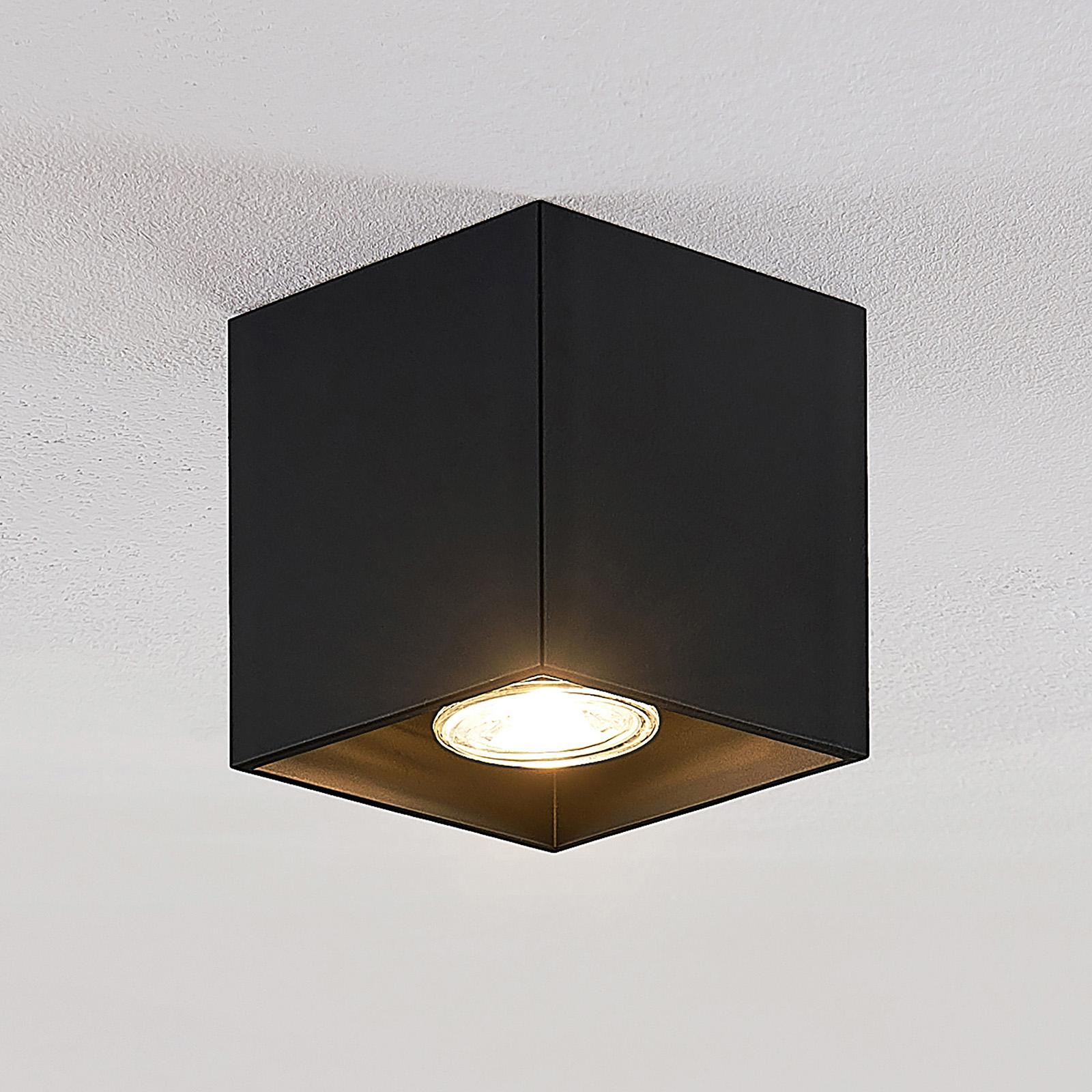 Lindby Parvin Aluminium-Downlight, eckig, schwarz
