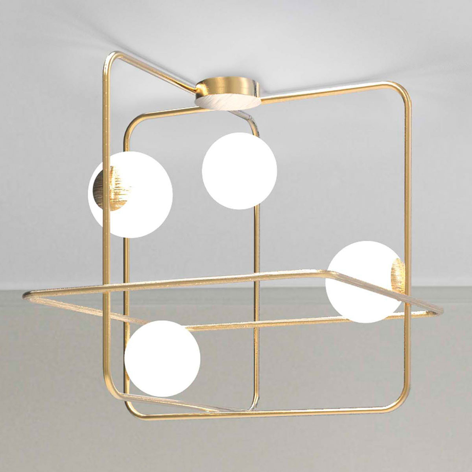 Lampa sufitowa Intrigo kwadratowa satyna złota