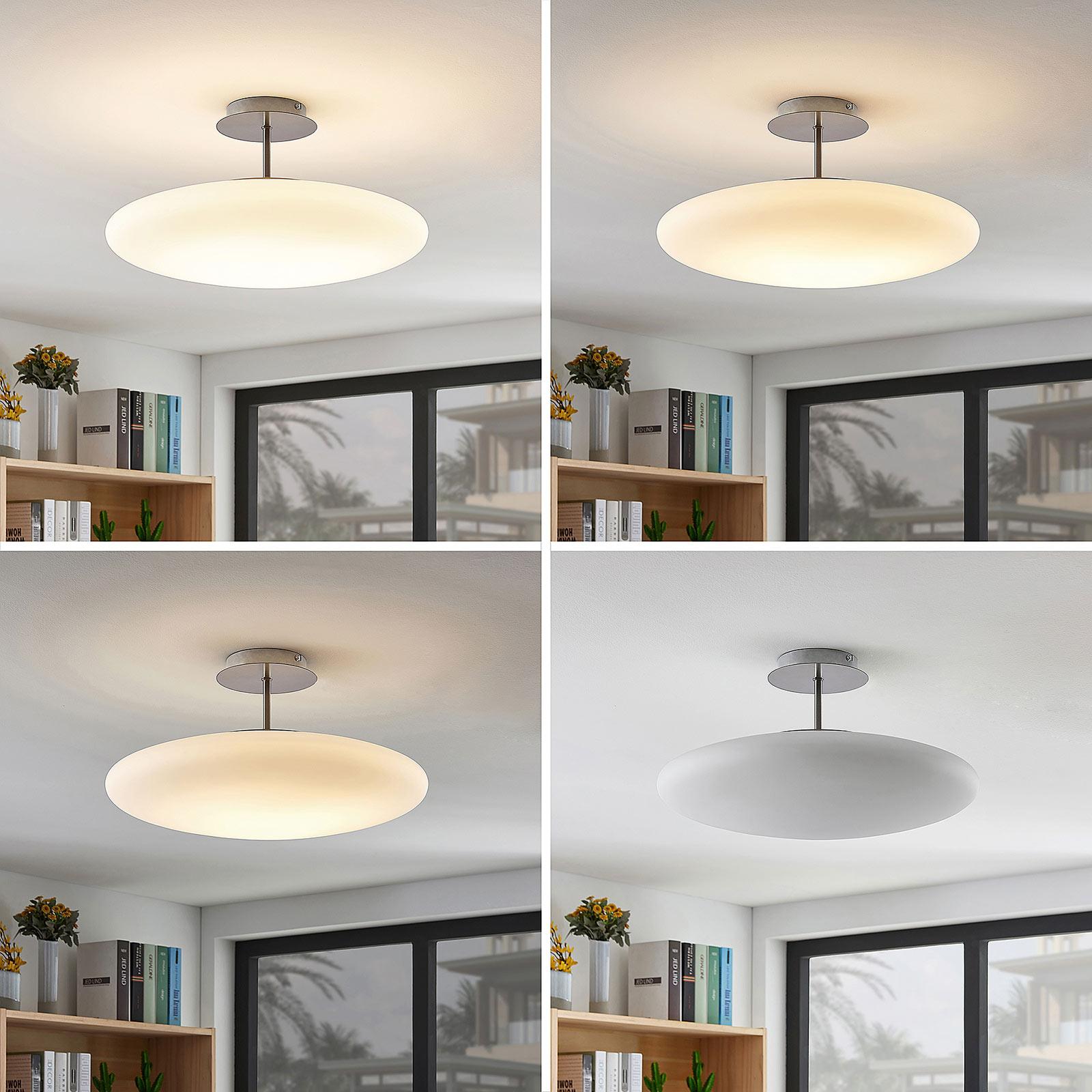 LED-opalglass-taklampe Gunda i hvitt
