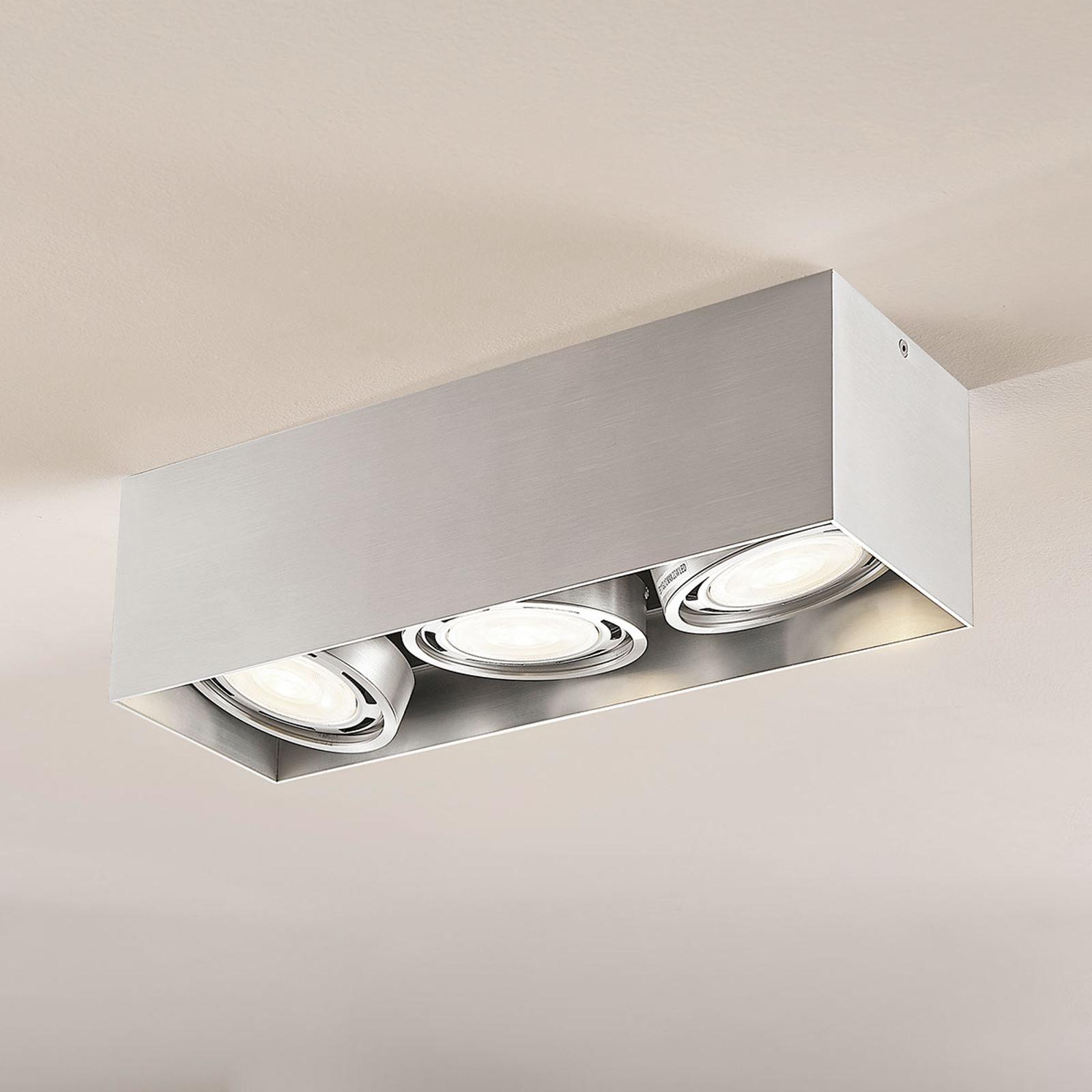 LED-Downlight Rosalie, dimmbar, eckig, 3-fl., alu