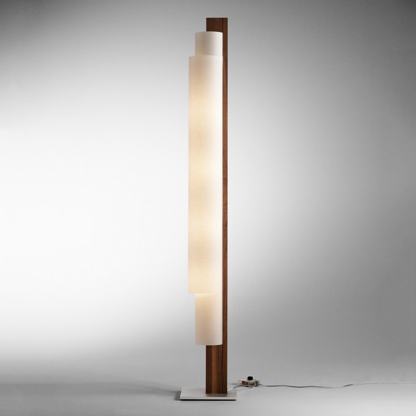 Lampadaire LED Stele en bois de noyer