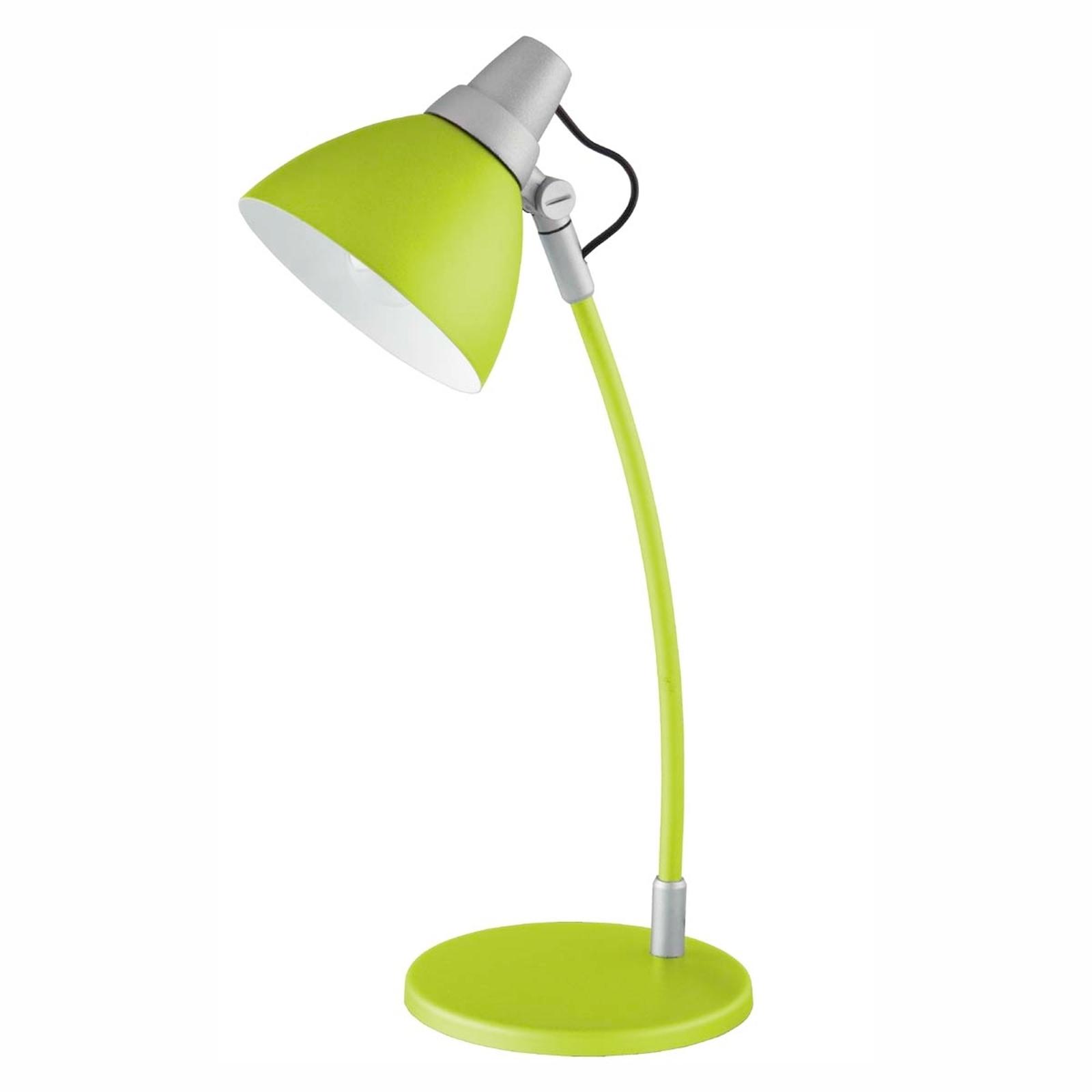 Vrolijk gekleurde tafellamp Onni groen, op voetst.