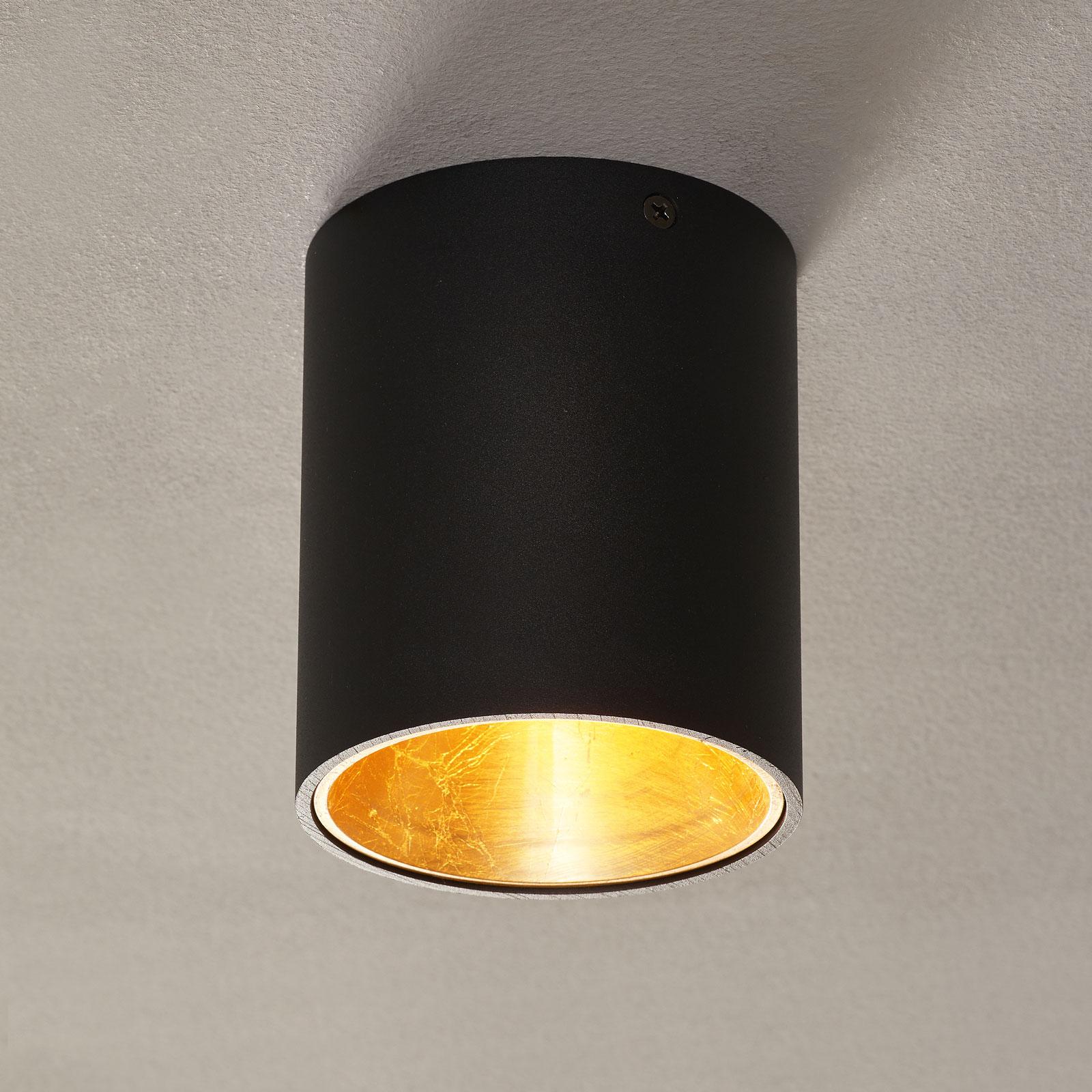 LED-taklampe Polasso rund, svart-gull