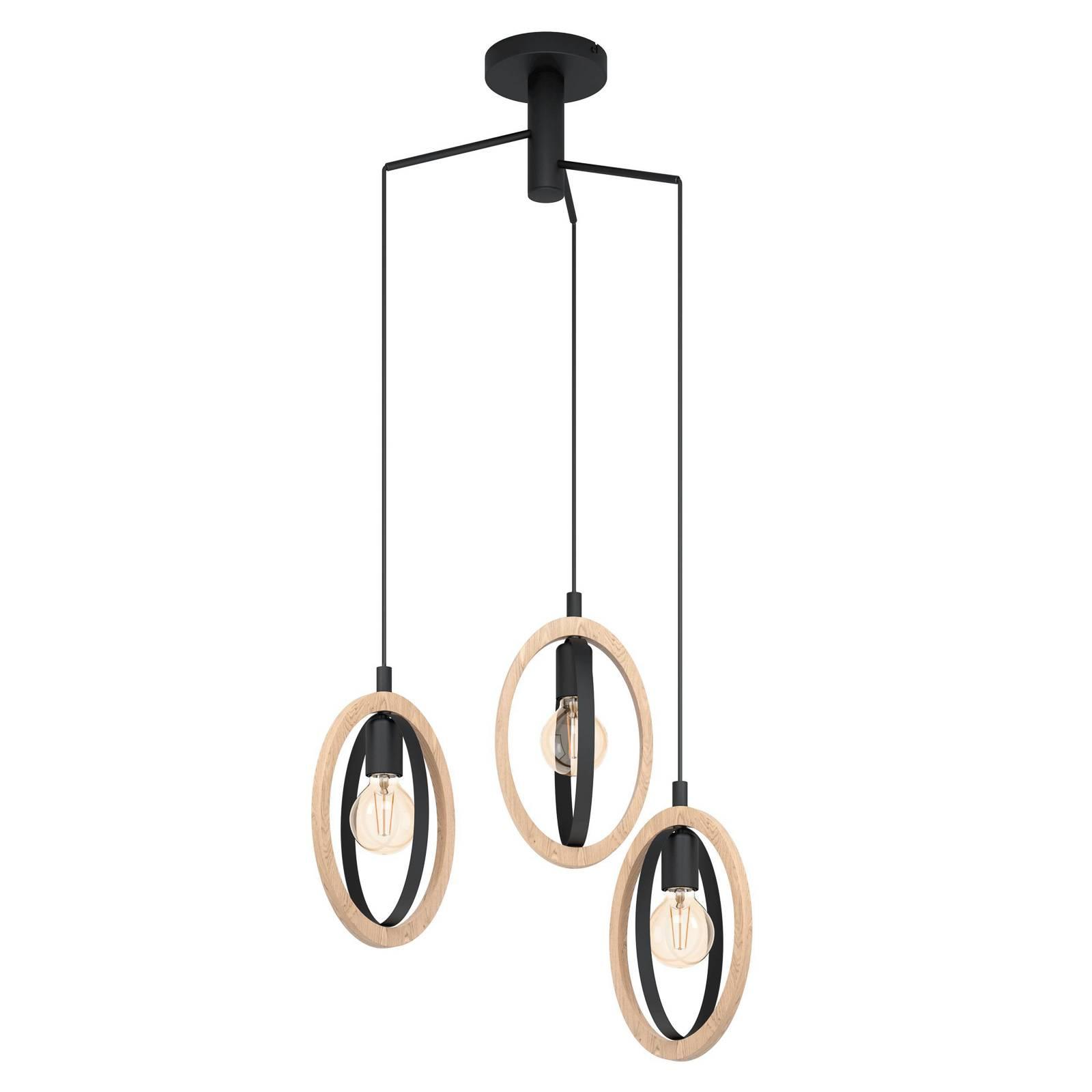Suspension Basildon avec détails bois, à 3 lampes