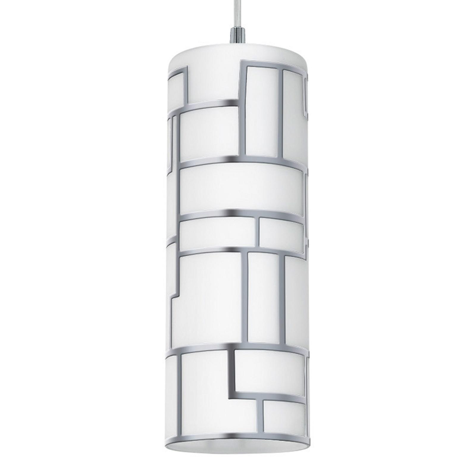 Smukła lampa wisząca Bayman z ornamentem z linii