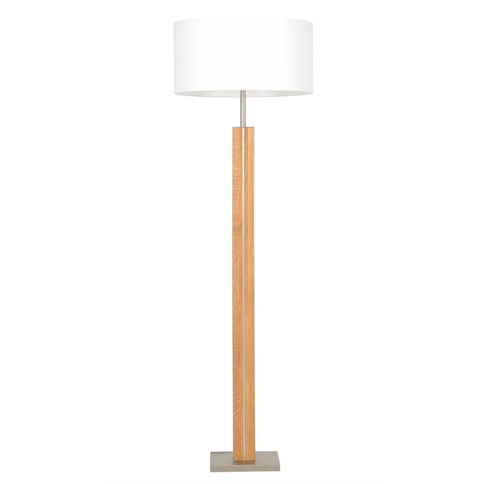 Lámpara de pie de madera maciza Dana, tela blanca