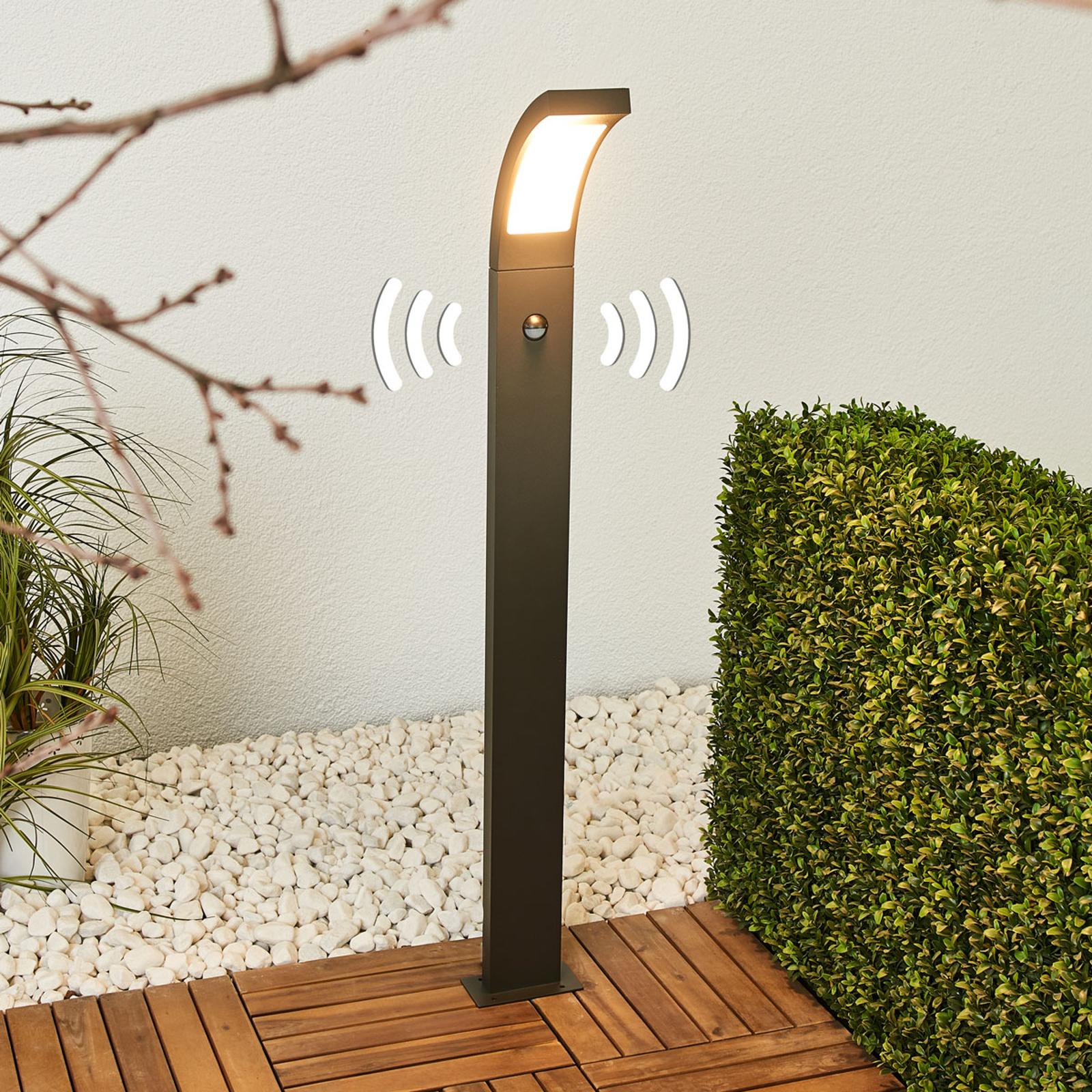 Sensor-LED-Pollarelampa Juvia, aluminium