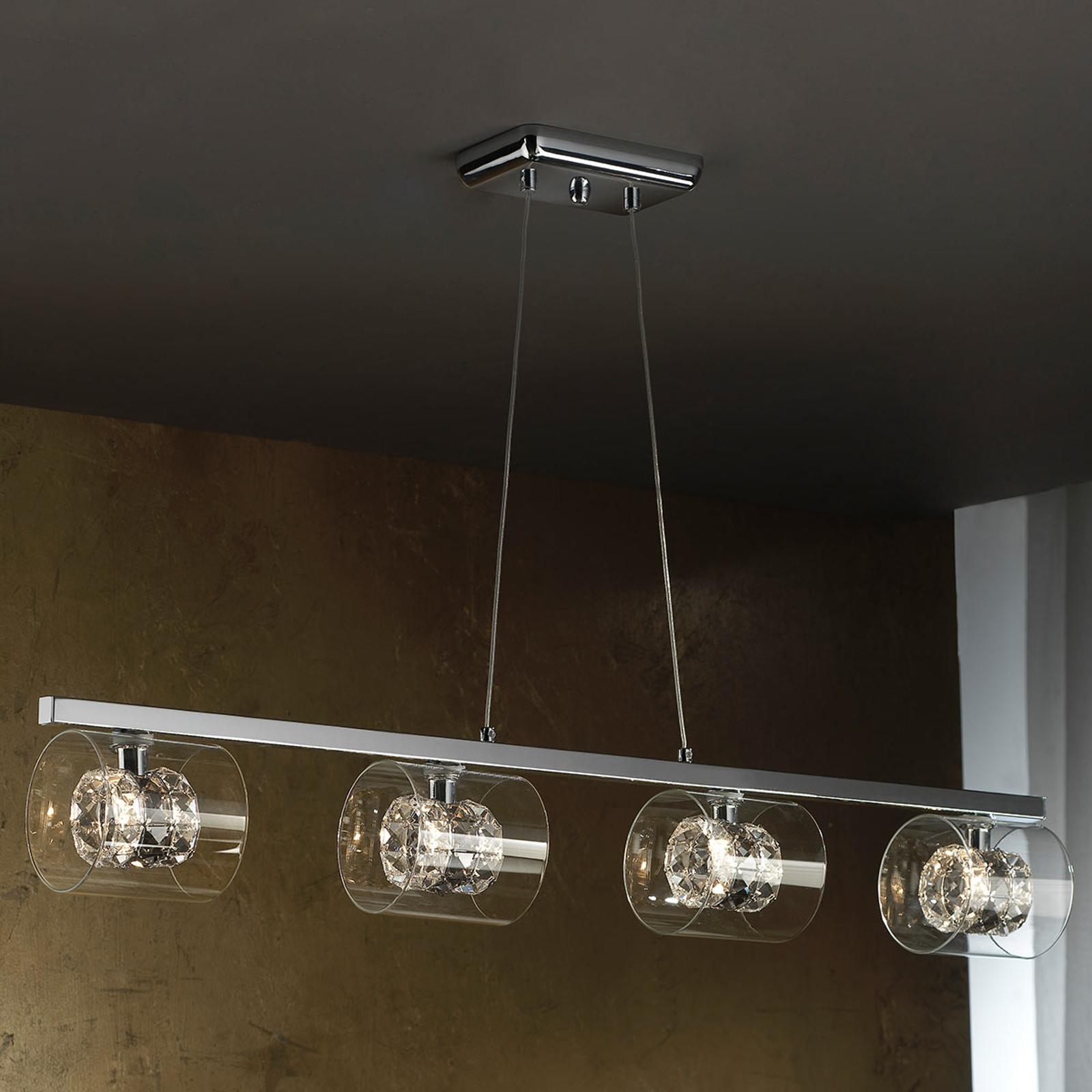 LED-Pendelleuchte Flash mit Kristallringen