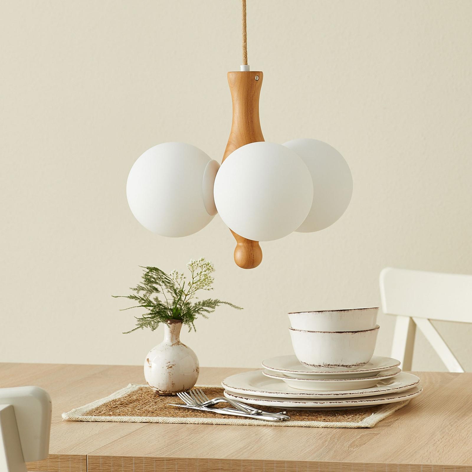 Hanglamp Themis 3-lamps van hout en glas