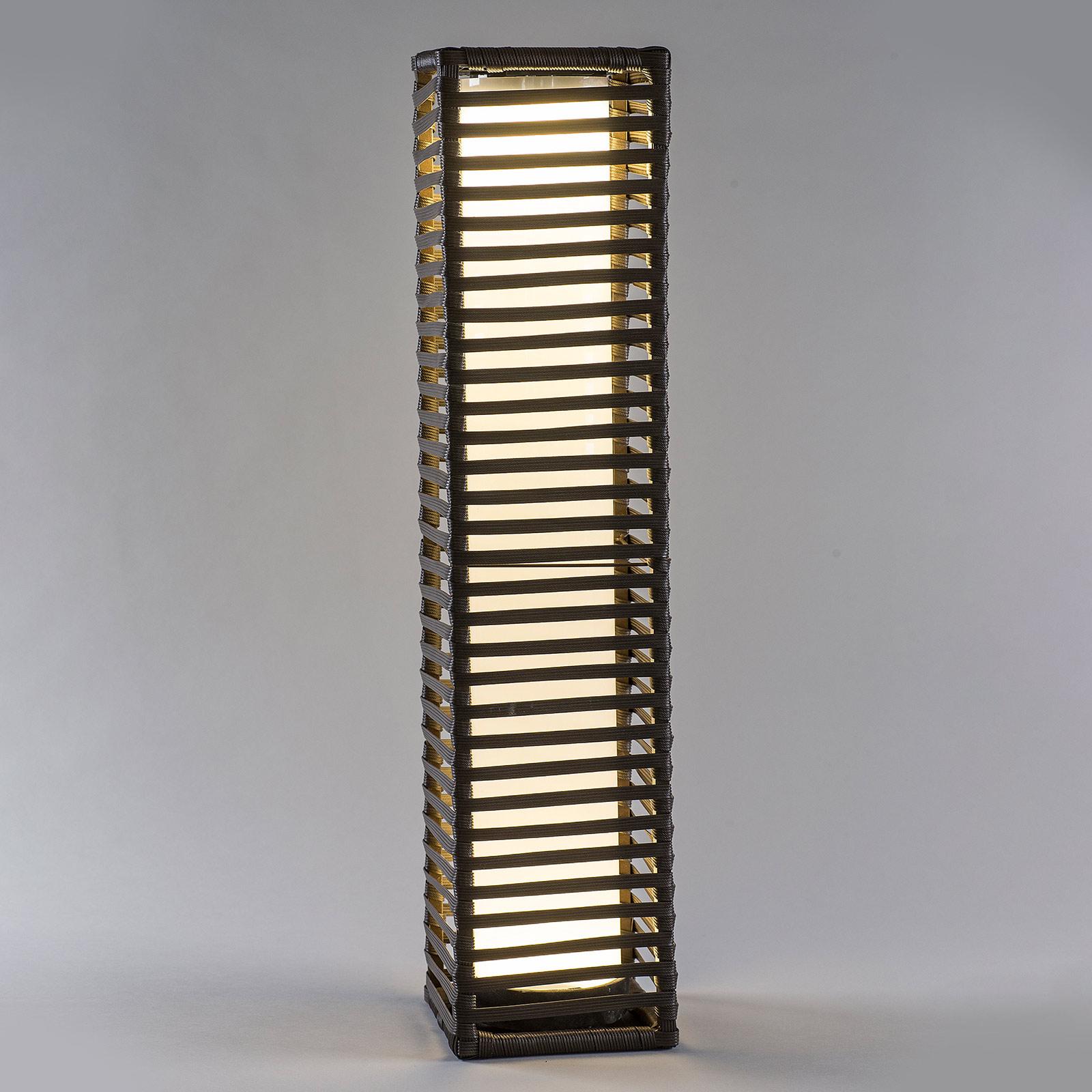 Solar-LED-valopylväs Rattan, kulmikas
