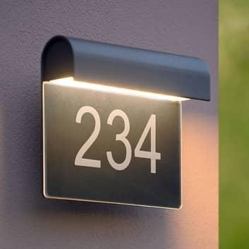Aplique LED con número de casa Thesi, negro