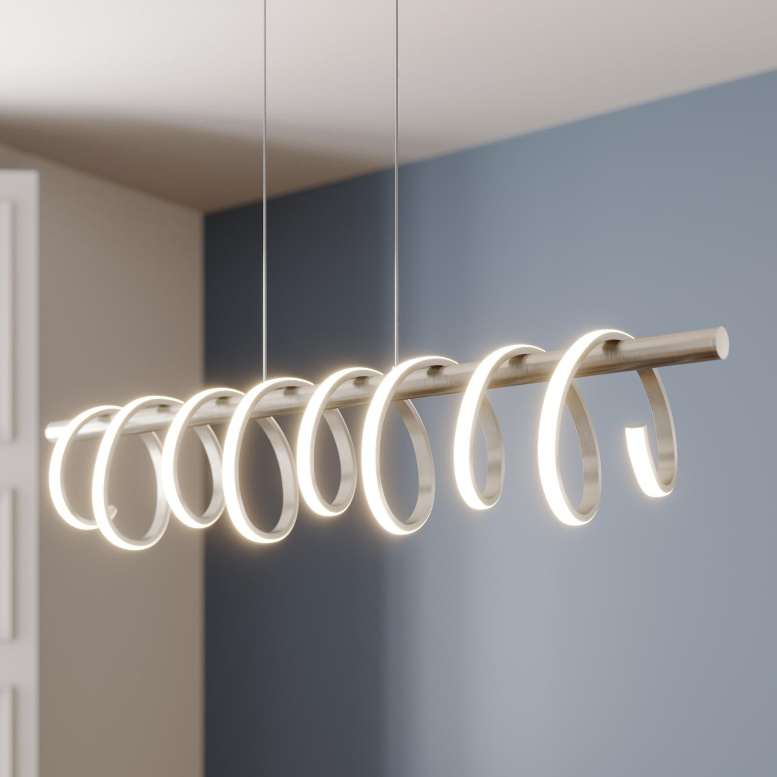Lucande Milora LED-Pendelleuchte, nickel
