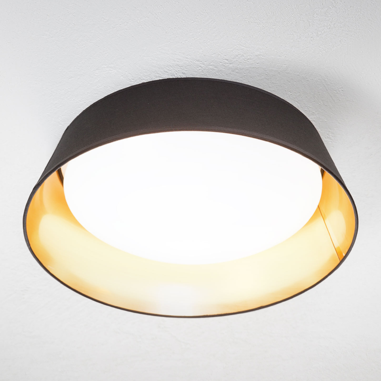 In zwart-goud - ronde LED plafondlamp Ponts