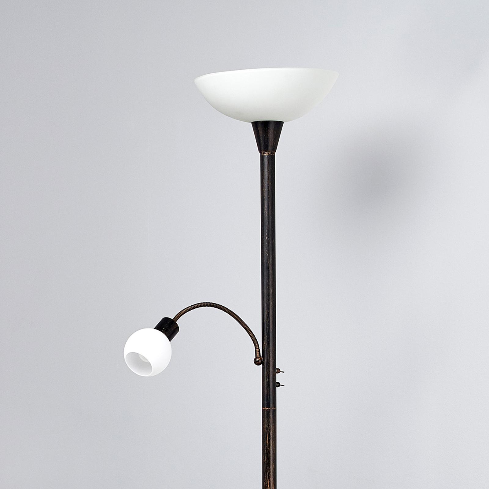 Lampadaire LED Elaina couleur rouille avec liseuse
