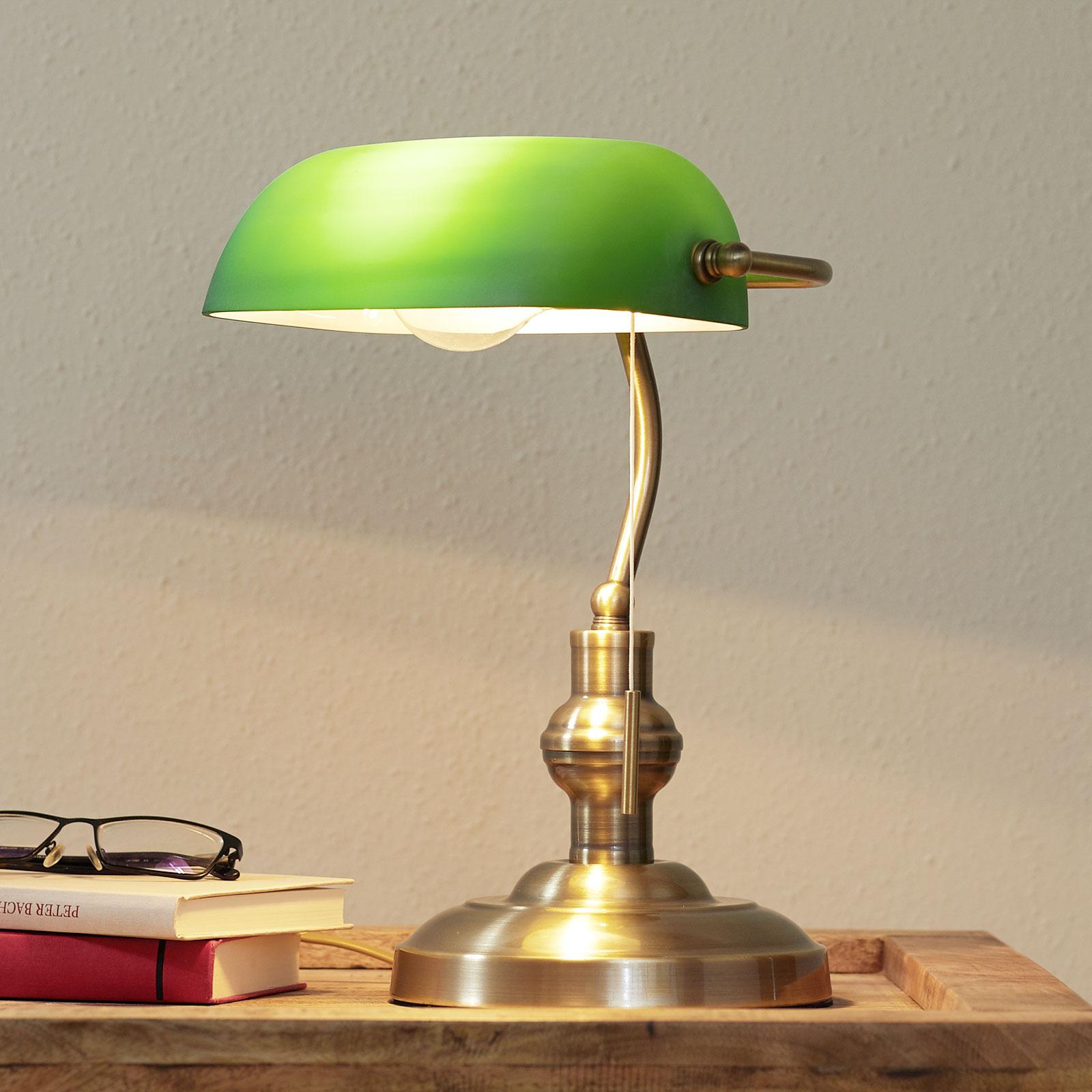 Milenka - Schreibtischlampe mit grünem Schirm