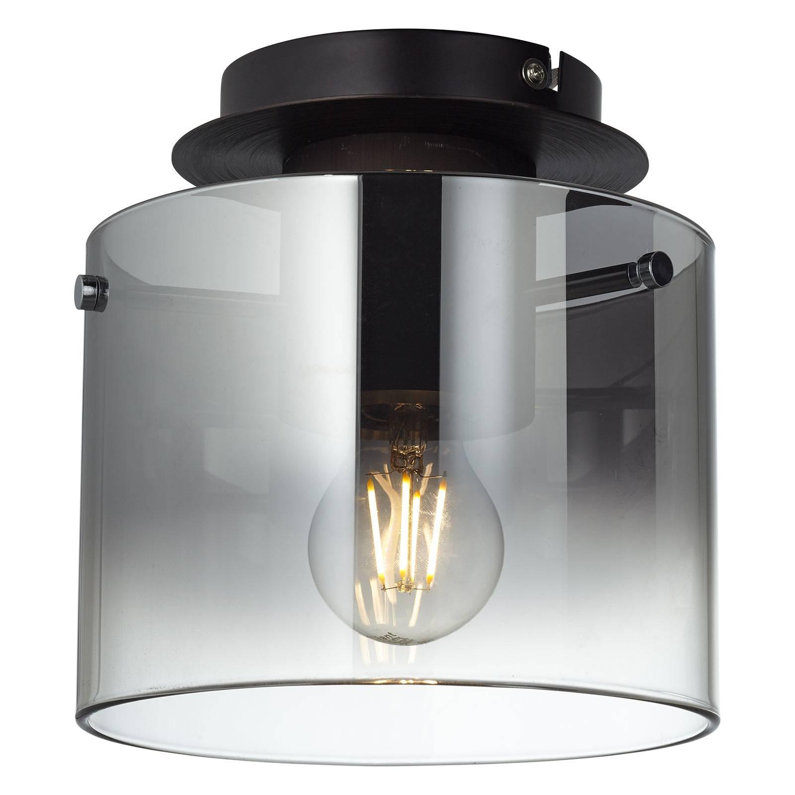 Plafondlamp Beth met rookglaskap, 1-lamp