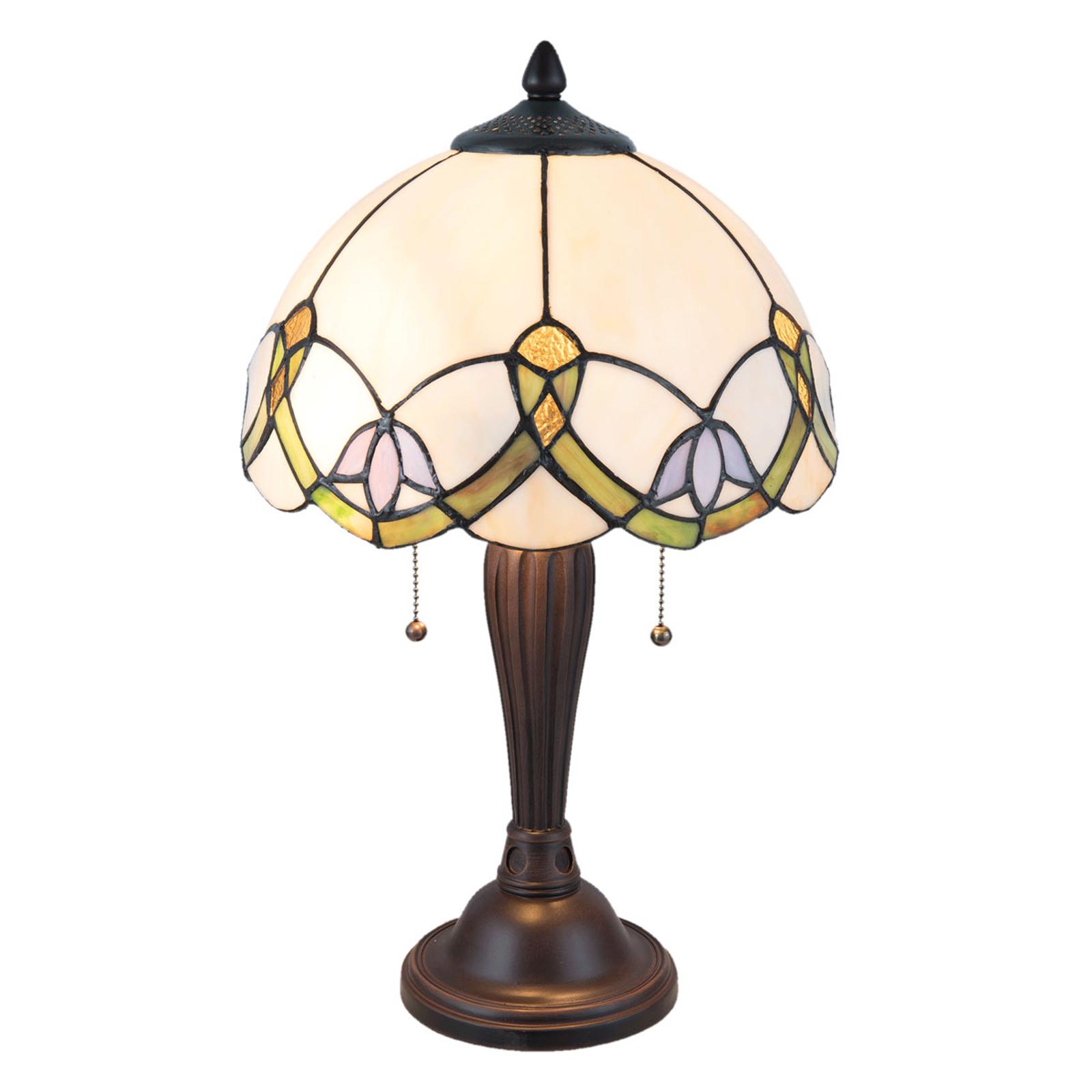 Tafellamp 5918 met wit-bont Tiffany-design