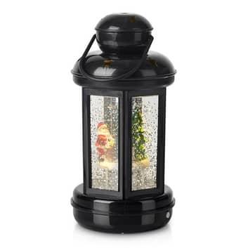 Glitter gevulde decoratieve LEDlantaarn Cosy zwart
