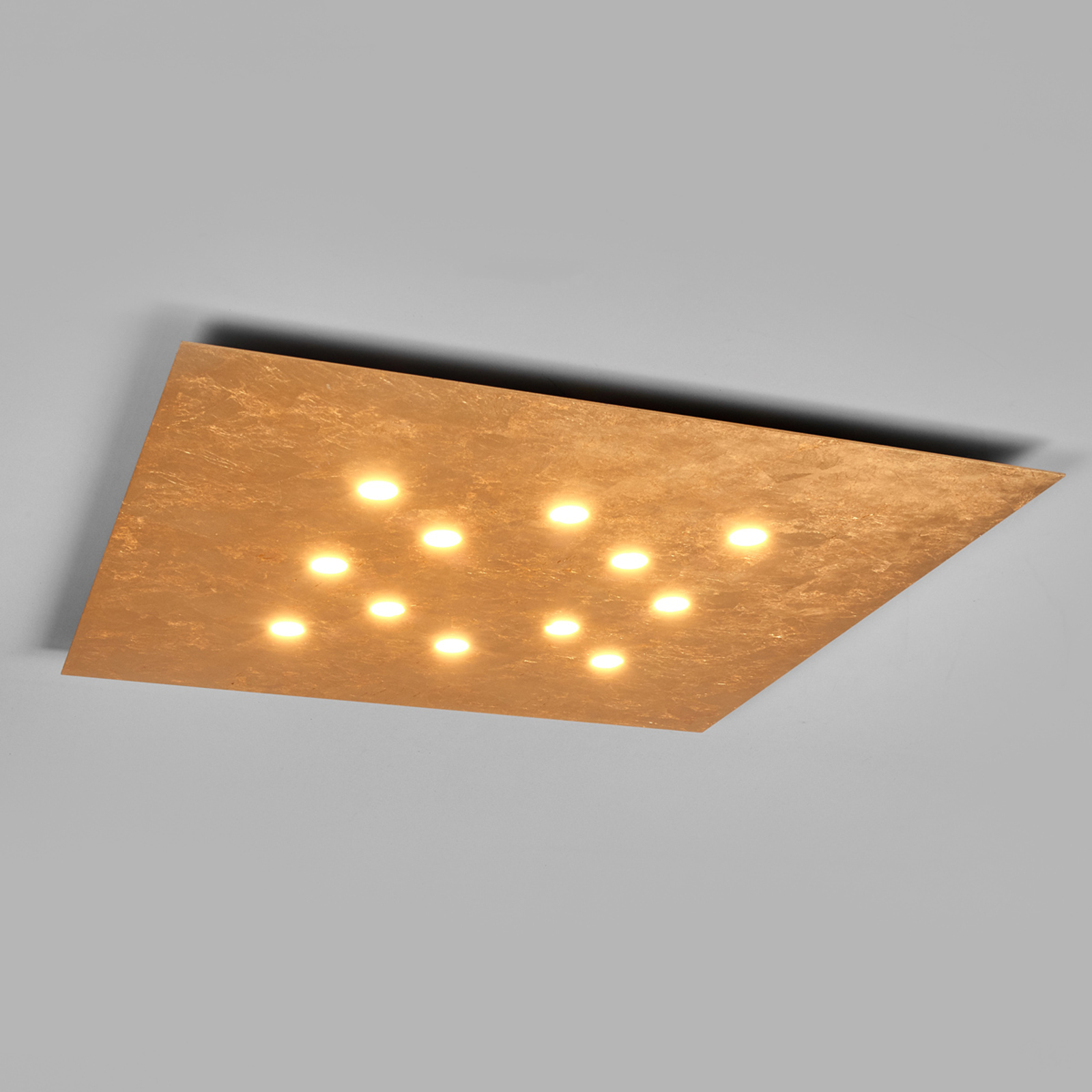 Platte led-plafondlamp Slim 12-li, bladgoud