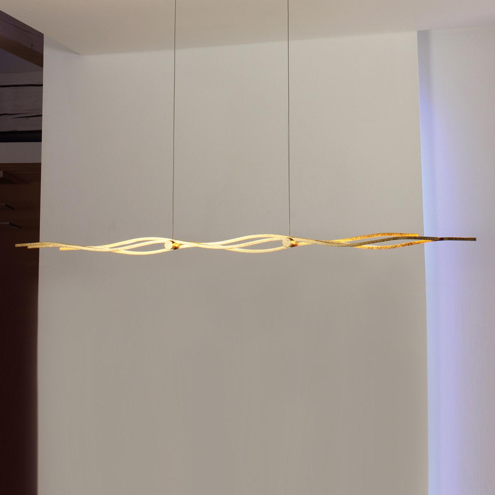 Mooie LED-pendellamp Silk bladgoud 120 cm