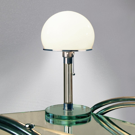Wagenfeld-bordslampa med glaslampfot