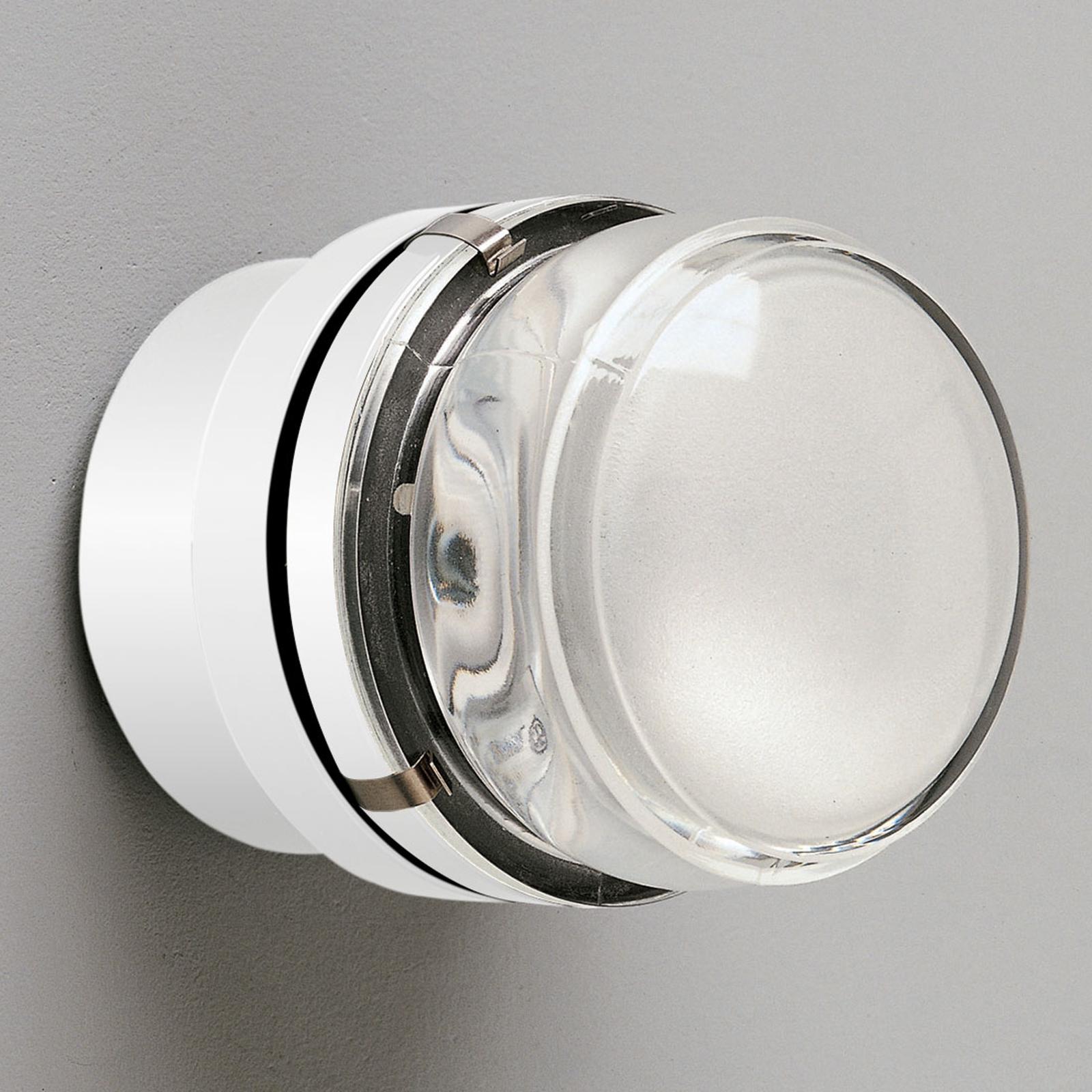 Oluce Fresnel - wandlamp met glazen lens IP44, wit